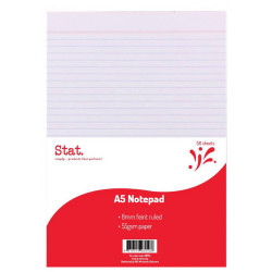 STAT NOTEPAD A5 7MM RULED 55Gsm White 50 Sheet