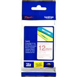 BROTHER TZE132 PTOUCH TAPE 12MMx8MT Red On Clear Tape